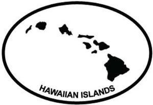 Hawaiian Islands decal from Oval Envy.  Great price for a durable vinyl decal.  We've got animals, beaches, dogs, cats and more!  Search our catalog for your next Euro Oval Decal.