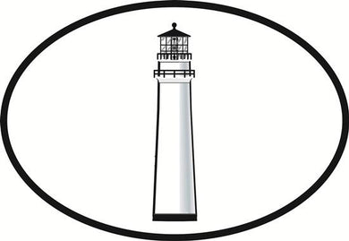 Lighthouse decal from Oval Envy.  Great price for a durable vinyl decal.  We've got animals, beaches, dogs, cats and more!  Search our catalog for your next Euro Oval Decal.