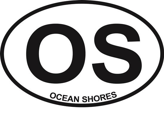 Ocean Shores (OS) decal from Oval Envy.  Great price for a durable vinyl decal.  We've got animals, beaches, dogs, cats and more!  Search our catalog for your next Euro Oval Decal.