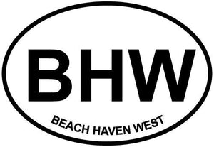 Beach Haven West, NJ decal from Oval Envy.  Great price for a durable vinyl decal.  We've got animals, beaches, dogs, cats and more!  Search our catalog for your next Euro Oval Decal.