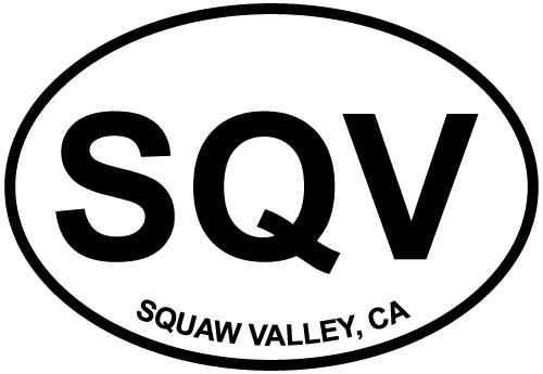 Squaw Valley, CA decal from Oval Envy.  Great price for a durable vinyl decal.  We've got animals, beaches, dogs, cats and more!  Search our catalog for your next Euro Oval Decal.