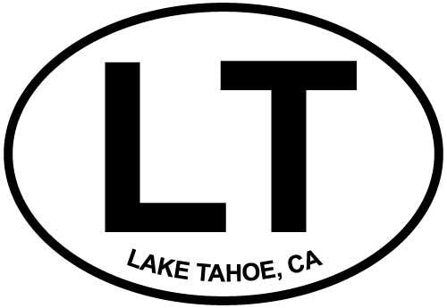 Lake Tahoe, CA decal from Oval Envy.  Great price for a durable vinyl decal.  We've got animals, beaches, dogs, cats and more!  Search our catalog for your next Euro Oval Decal.