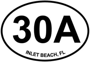 Inlet Beach, FL (30A) decal from Oval Envy.  Great price for a durable vinyl decal.  We've got animals, beaches, dogs, cats and more!  Search our catalog for your next Euro Oval Decal.