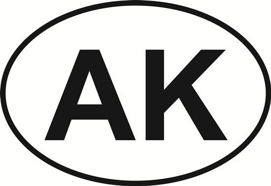 Alaska (AK) decal from Oval Envy.  Great price for a durable vinyl decal.  We've got animals, beaches, dogs, cats and more!  Search our catalog for your next Euro Oval Decal.