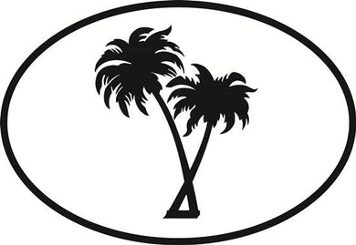 Palm Trees decal from Oval Envy.  Great price for a durable vinyl decal.  We've got animals, beaches, dogs, cats and more!  Search our catalog for your next Euro Oval Decal.