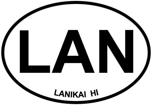 Lanikai, HI decal from Oval Envy.  Great price for a durable vinyl decal.  We've got animals, beaches, dogs, cats and more!  Search our catalog for your next Euro Oval Decal.