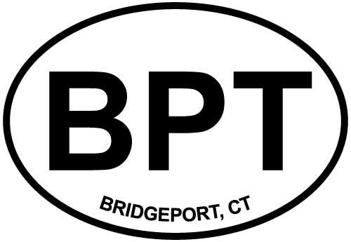 Bridgeport, CT decal from Oval Envy.  Great price for a durable vinyl decal.  We've got animals, beaches, dogs, cats and more!  Search our catalog for your next Euro Oval Decal.