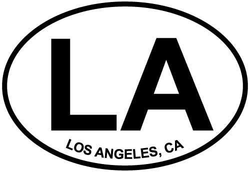 Los Angeles, CA decal from Oval Envy.  Great price for a durable vinyl decal.  We've got animals, beaches, dogs, cats and more!  Search our catalog for your next Euro Oval Decal.