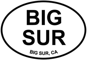 Big Sur, CA decal from Oval Envy.  Great price for a durable vinyl decal.  We've got animals, beaches, dogs, cats and more!  Search our catalog for your next Euro Oval Decal.