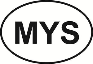 Mystic decal from Oval Envy.  Great price for a durable vinyl decal.  We've got animals, beaches, dogs, cats and more!  Search our catalog for your next Euro Oval Decal.