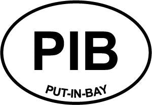 Put-In-Bay decal from Oval Envy.  Great price for a durable vinyl decal.  We've got animals, beaches, dogs, cats and more!  Search our catalog for your next Euro Oval Decal.