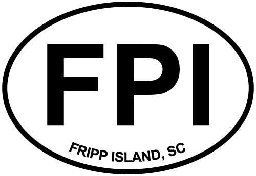 Fripp Island, SC decal from Oval Envy.  Great price for a durable vinyl decal.  We've got animals, beaches, dogs, cats and more!  Search our catalog for your next Euro Oval Decal.