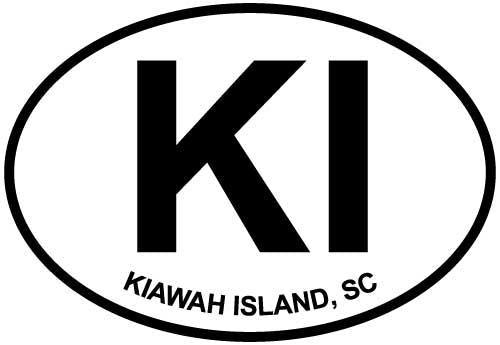 Kiawah Island, SC decal from Oval Envy.  Great price for a durable vinyl decal.  We've got animals, beaches, dogs, cats and more!  Search our catalog for your next Euro Oval Decal.