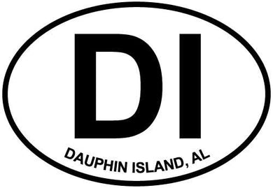 Dauphin Island decal from Oval Envy.  Great price for a durable vinyl decal.  We've got animals, beaches, dogs, cats and more!  Search our catalog for your next Euro Oval Decal.