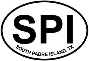 South Padre Island, TX decal from Oval Envy.  Great price for a durable vinyl decal.  We've got animals, beaches, dogs, cats and more!  Search our catalog for your next Euro Oval Decal.