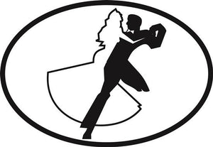 Ballroom Dancing decal from Oval Envy.  Great price for a durable vinyl decal.  We've got animals, beaches, dogs, cats and more!  Search our catalog for your next Euro Oval Decal.