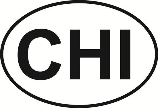 Chicago decal from Oval Envy.  Great price for a durable vinyl decal.  We've got animals, beaches, dogs, cats and more!  Search our catalog for your next Euro Oval Decal.
