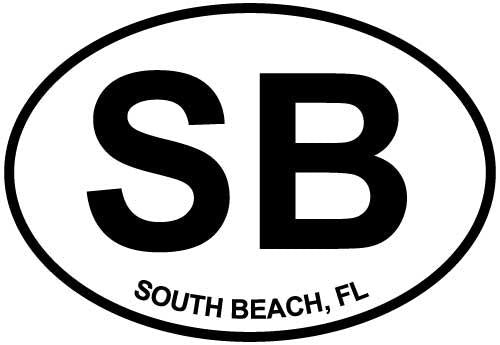 South Beach, FL decal from Oval Envy.  Great price for a durable vinyl decal.  We've got animals, beaches, dogs, cats and more!  Search our catalog for your next Euro Oval Decal.