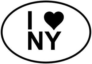 I Love NY decal from Oval Envy.  Great price for a durable vinyl decal.  We've got animals, beaches, dogs, cats and more!  Search our catalog for your next Euro Oval Decal.