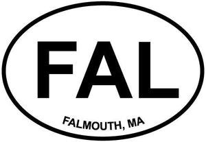Falmouth, MA decal from Oval Envy.  Great price for a durable vinyl decal.  We've got animals, beaches, dogs, cats and more!  Search our catalog for your next Euro Oval Decal.