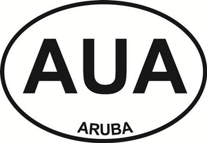 Aruba decal from Oval Envy.  Great price for a durable vinyl decal.  We've got animals, beaches, dogs, cats and more!  Search our catalog for your next Euro Oval Decal.