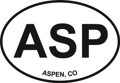 Aspen, CO decal from Oval Envy.  Great price for a durable vinyl decal.  We've got animals, beaches, dogs, cats and more!  Search our catalog for your next Euro Oval Decal.