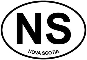 Nova Scotia decal from Oval Envy.  Great price for a durable vinyl decal.  We've got animals, beaches, dogs, cats and more!  Search our catalog for your next Euro Oval Decal.