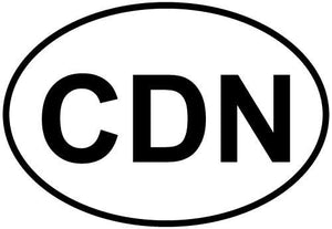 Canada-CDN decal from Oval Envy.  Great price for a durable vinyl decal.  We've got animals, beaches, dogs, cats and more!  Search our catalog for your next Euro Oval Decal.