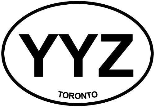 Toronto-YYZ decal from Oval Envy.  Great price for a durable vinyl decal.  We've got animals, beaches, dogs, cats and more!  Search our catalog for your next Euro Oval Decal.