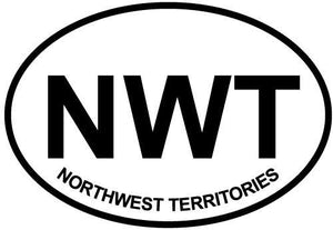 Northwest Territories decal from Oval Envy.  Great price for a durable vinyl decal.  We've got animals, beaches, dogs, cats and more!  Search our catalog for your next Euro Oval Decal.