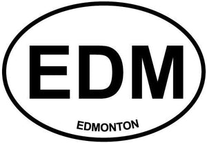 Edmonton decal from Oval Envy.  Great price for a durable vinyl decal.  We've got animals, beaches, dogs, cats and more!  Search our catalog for your next Euro Oval Decal.