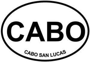 Cabo San Lucas decal from Oval Envy.  Great price for a durable vinyl decal.  We've got animals, beaches, dogs, cats and more!  Search our catalog for your next Euro Oval Decal.