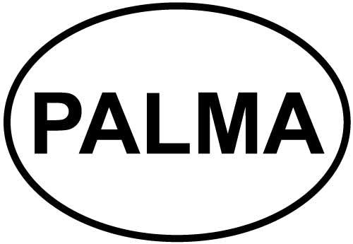 Palma decal from Oval Envy.  Great price for a durable vinyl decal.  We've got animals, beaches, dogs, cats and more!  Search our catalog for your next Euro Oval Decal.