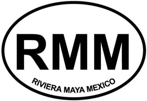 Riviera Maya Mexico decal from Oval Envy.  Great price for a durable vinyl decal.  We've got animals, beaches, dogs, cats and more!  Search our catalog for your next Euro Oval Decal.