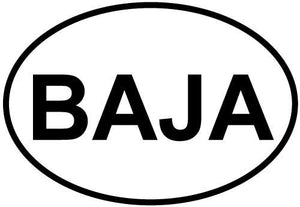 Baja decal from Oval Envy.  Great price for a durable vinyl decal.  We've got animals, beaches, dogs, cats and more!  Search our catalog for your next Euro Oval Decal.