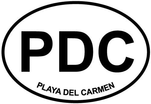 Playa del Carmen decal from Oval Envy.  Great price for a durable vinyl decal.  We've got animals, beaches, dogs, cats and more!  Search our catalog for your next Euro Oval Decal.