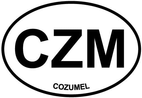 Cozumel decal from Oval Envy.  Great price for a durable vinyl decal.  We've got animals, beaches, dogs, cats and more!  Search our catalog for your next Euro Oval Decal.
