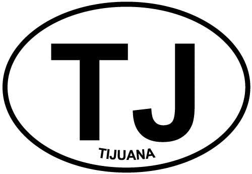 Tijuana decal from Oval Envy.  Great price for a durable vinyl decal.  We've got animals, beaches, dogs, cats and more!  Search our catalog for your next Euro Oval Decal.