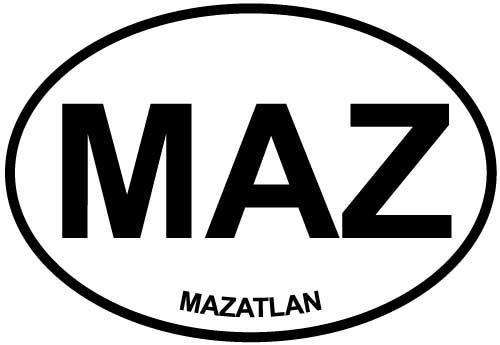 Mazatlan decal from Oval Envy.  Great price for a durable vinyl decal.  We've got animals, beaches, dogs, cats and more!  Search our catalog for your next Euro Oval Decal.