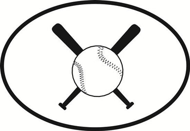 Baseball and Softball decal from Oval Envy.  Great price for a durable vinyl decal.  We've got animals, beaches, dogs, cats and more!  Search our catalog for your next Euro Oval Decal.