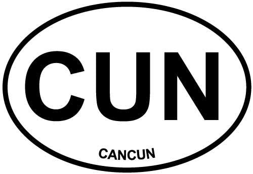 Cancun decal from Oval Envy.  Great price for a durable vinyl decal.  We've got animals, beaches, dogs, cats and more!  Search our catalog for your next Euro Oval Decal.