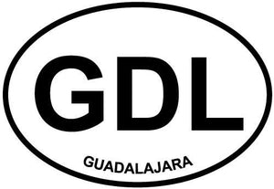 Guadalajara decal from Oval Envy.  Great price for a durable vinyl decal.  We've got animals, beaches, dogs, cats and more!  Search our catalog for your next Euro Oval Decal.
