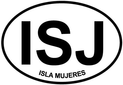 Isla Mujeres decal from Oval Envy.  Great price for a durable vinyl decal.  We've got animals, beaches, dogs, cats and more!  Search our catalog for your next Euro Oval Decal.