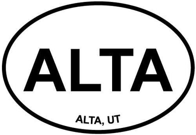 Alta, UT decal from Oval Envy.  Great price for a durable vinyl decal.  We've got animals, beaches, dogs, cats and more!  Search our catalog for your next Euro Oval Decal.