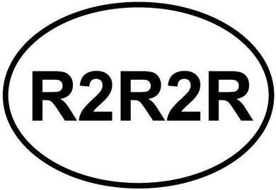 R2R2R decal from Oval Envy.  Great price for a durable vinyl decal.  We've got animals, beaches, dogs, cats and more!  Search our catalog for your next Euro Oval Decal.