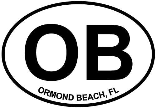 Ormond Beach, FL decal from Oval Envy.  Great price for a durable vinyl decal.  We've got animals, beaches, dogs, cats and more!  Search our catalog for your next Euro Oval Decal.
