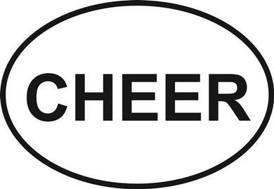 Cheer decal from Oval Envy.  Great price for a durable vinyl decal.  We've got animals, beaches, dogs, cats and more!  Search our catalog for your next Euro Oval Decal.