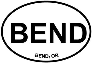 Bend, OR decal from Oval Envy.  Great price for a durable vinyl decal.  We've got animals, beaches, dogs, cats and more!  Search our catalog for your next Euro Oval Decal.