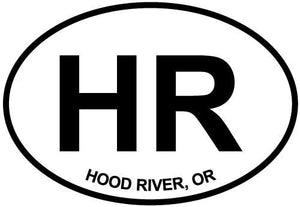 Hood River, OR decal from Oval Envy.  Great price for a durable vinyl decal.  We've got animals, beaches, dogs, cats and more!  Search our catalog for your next Euro Oval Decal.