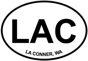 La Conner, WA decal from Oval Envy.  Great price for a durable vinyl decal.  We've got animals, beaches, dogs, cats and more!  Search our catalog for your next Euro Oval Decal.